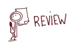 Illustration af review med tændstikmand der læser papir