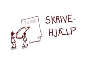 Illustration af skrivehjælp med to tændstikmænd der skriver på et tilbud