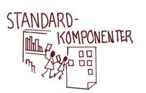 Illustration af standardkomponenter med to tændstikmænd der tager nogle blokke fra en reol og sætter på et papir