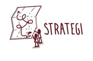 Illustration af strategi med to tændsstiksmænd der tegner på et kort