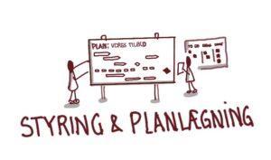 Illustration af styring og planlægning, med to tændstikmænd ved en tavle