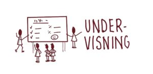 Illustration af undervisning med to tændstikmænd ved en tavle og tre der kigger på